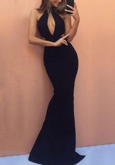 Black Cut Out Mermaid High Waisted Elegant Bodycon Graduation Party Maxi Dress