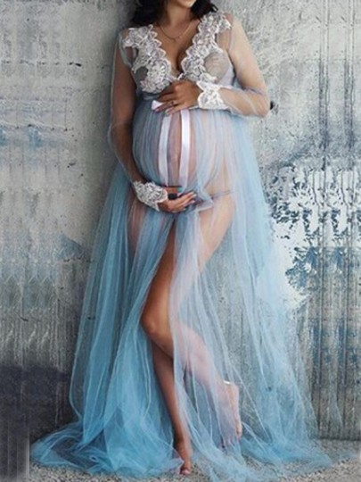Light Blue Lace Grenadine Bowknot Slit Deep V-neck For Babyshower Elegant Maternity Maxi Dress