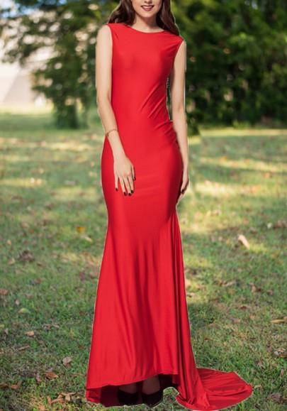 Robe longue dos nu avec paillettes noeud papillon moulante sirene élégant de soirée rouge