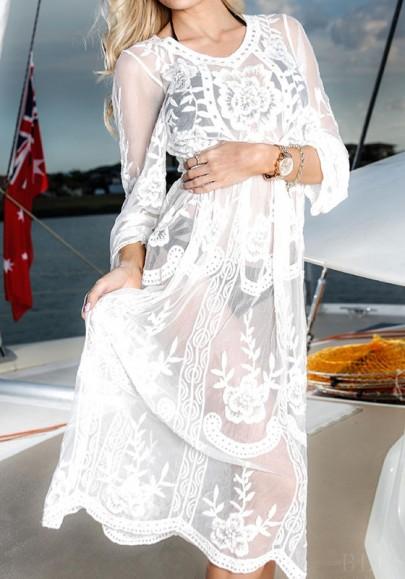 Robe dentelle découpess sans manches longues douce maternité blanc