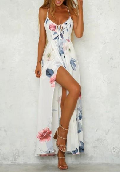 Weiß Blumen Schlitz Rückenschnürung V-Ausschnitt Bohemien Elegant Maxikleid Strandkleid Trägerkleid