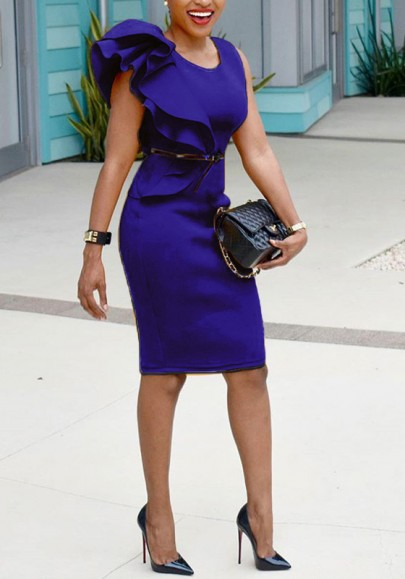 Vestido A media pierna falda asimétrica en cascada de hombro lápiz de talla elegante azul