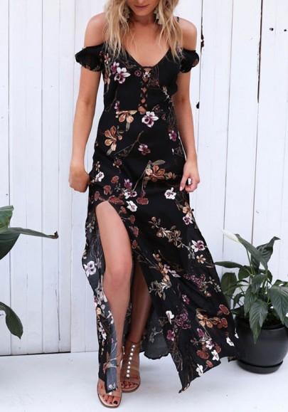 Robe maxi ceinture fendue bordée de fleurs bordée de v-cou bohème noir