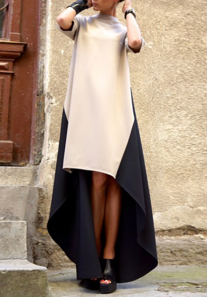 Khaki Color Block Print Irregular High-low Fashion Maxi Dress