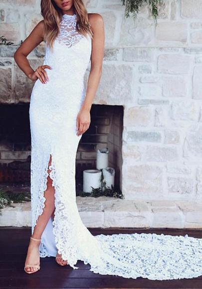 Weiße Spitze Rückenfreies Ärmellos Schleppe Elegante Lange Maxikleid Festliche Kleid Abendkleid