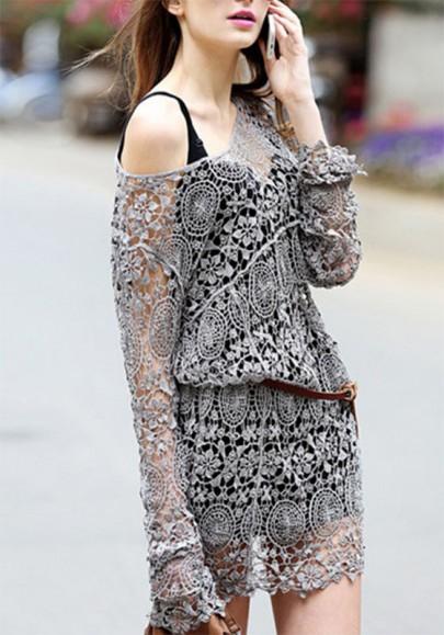 Découpesr dentelle ttrendy mini robe gris