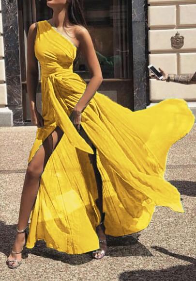 Robe maxi longue en mousseline épaule asymétrique fluide élégant jaune