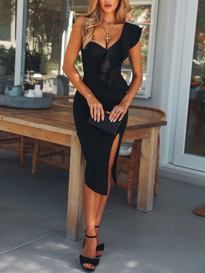 Black Ruffle Asymmetric Shoulder Side Slit Bodycon Elegant Banquet Party Midi Dress