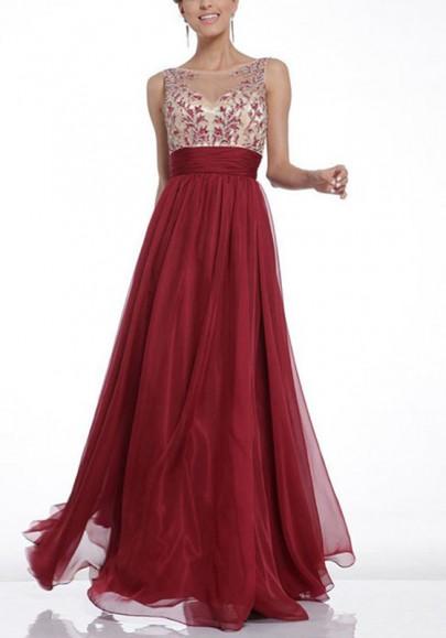 Robe longue avec fleurie dentelle tulle fluide dos nu élégant de soirée rouge