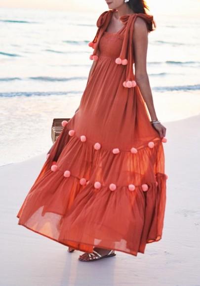 Orange Drapiert Fell Ball Pom Pom Spitze Up mit Eckigem Ausschnitt Elegant Maxikleid Strandkleid
