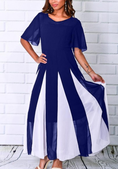 100% quality well known 100% quality Blue White Striped Print Color Block Draped High Waisted Workwear Office  Elegant Maxi Dress