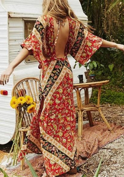Robe maxi longue style ethnique imprimé à fleurs dos nu fendu v-cou mode boho rouge