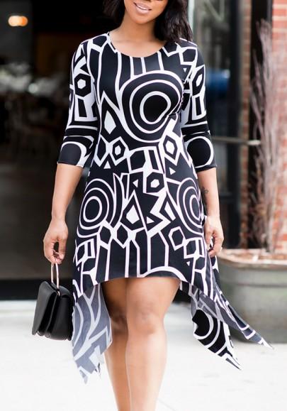 Black Geometric Pattern Irregular Round Sleeve 3/4 Sleeve Elegant Midi Dress