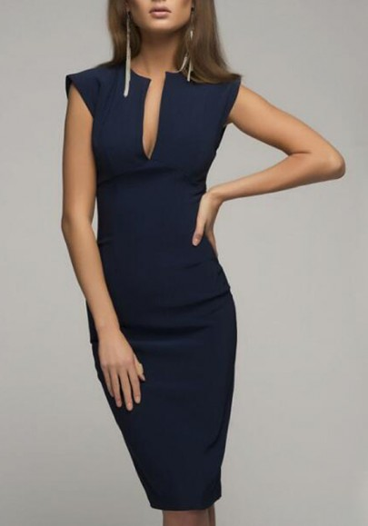 Blue Deep V-neck Slit Bodycon Sleeveless Fashion Office Worker/Daily Elegant Midi Dress