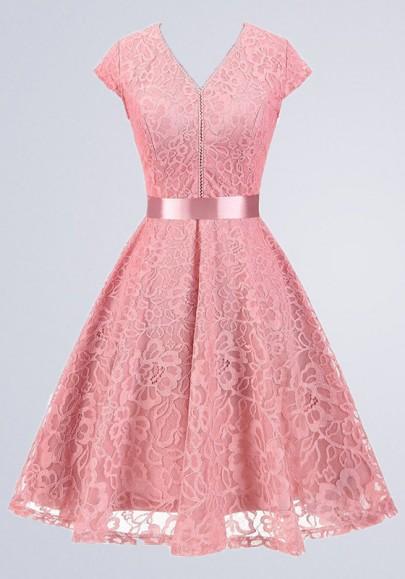 Vestiti Eleganti Rosa.Abito Longuette Normale Fasce Drappeggiate Con V Collo Manica