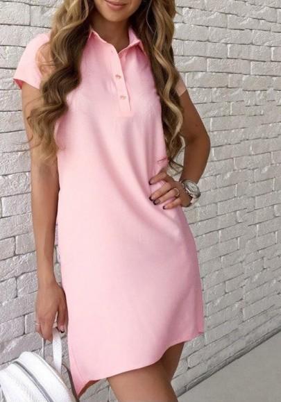 Pink Buttons Turndown Collar Short Sleeve Fashion Mini Dress