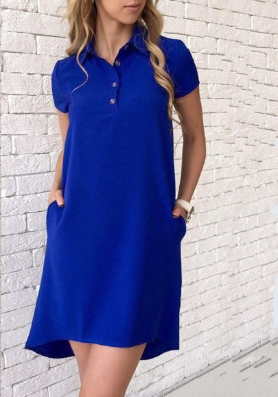 Blue Buttons Turndown Collar Short Sleeve Fashion Mini Dress