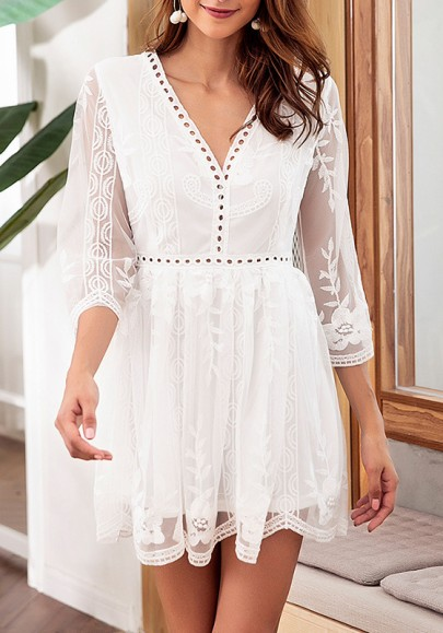 White Patchwork Lace Grenadine Cut Out V-neck Fashion Mini Dress