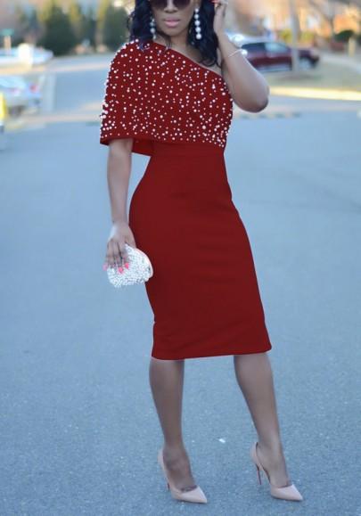 Rot Asymmetrische Schulter Rückenfrei Sicke Bodycon Elegante Partei Midi Kleid