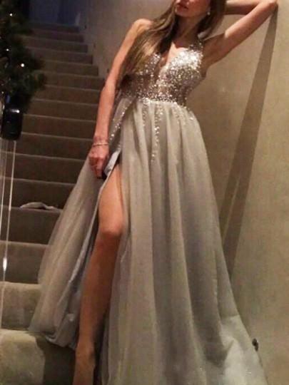Graue Pailletten Schlitz Rückenfreies Party Tüllkleid Maxikleid Festliche Kleid Abendkleid