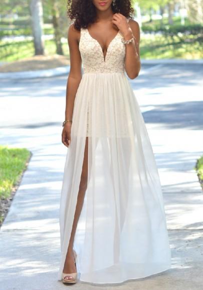 Weiß Patchwork Spitze Seiten Schlitz Rückenfreies V-Ausschnitt Elegantes Maxikleid Sommerkleid Abendkleid