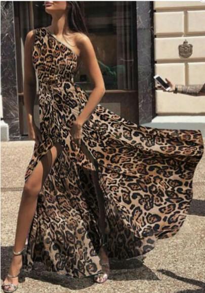 Brown Leopard Print Asymmetric Shoulder Slit Draped High Waisted Flowy Elegant Maxi Dress