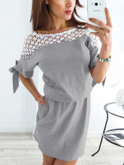 Grey Patchwork Ruffle Lace Boat Neck Fashion Mini Dress
