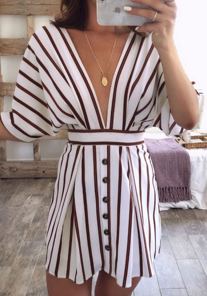 White Striped Buttons Tie Back Plunging Neckline Mini Dress