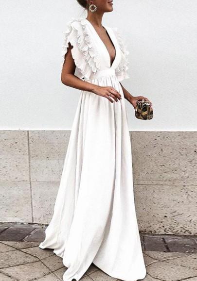 Weiß Rüschen Plissee Tiefer V-Ausschnitt Elegant Maxikleid Abendkleid Ballkleid