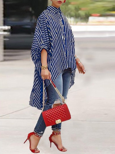 Blue-White Striped Irregular Single Breasted High-low Turndown Collar Oversized Casual Maxi Dress