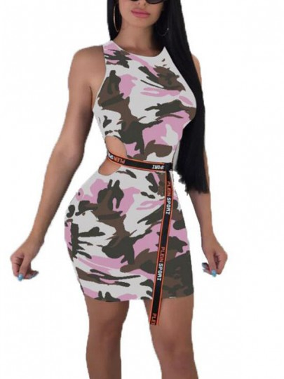 Pink Camouflage Print Cut Out Shoulder-Strap Off Shoulder Bodycon Casual Mini Dress