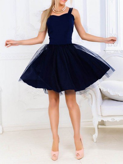 Dark Blue Patchwork Grenadine High Waisted Fluffy Skater Adult Tutu Homecoming Mini Dress