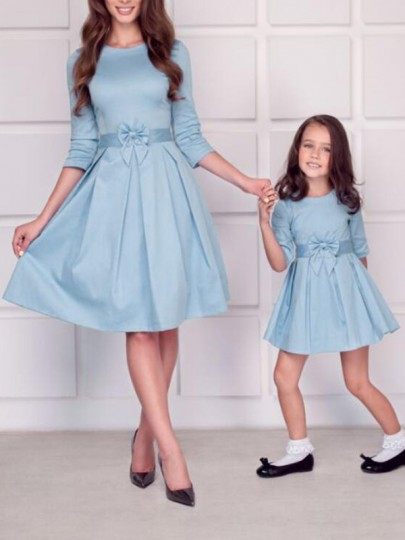 Sky Blue Pleated Bow High Waisted Round Neck Sweet Homecoming Party Midi Dress