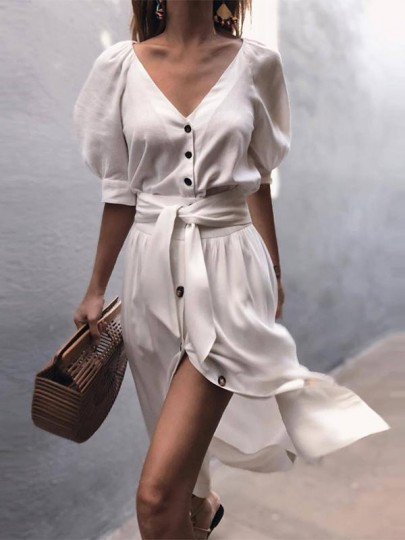 White Single Breasted V-neck Sashes Slit Flowy Balloon Sleeve Country Party Midi Dress