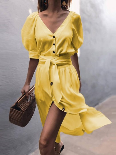 Yellow Single Breasted Sashes Slit Flowy V-neck Balloon Sleeve Casual Beach Party Midi Dress