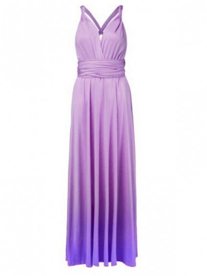 Purple Patchwork Draped Sashes Gradienting Color Multi Way Backless Homecoming Party Maxi Dress