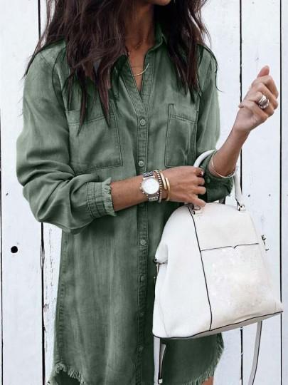 Grün Einreiher Taschen Fransen Umlegekragen Langarm Beiläufige Minikleid Jeanskleid Lang Bluse Damen Mode