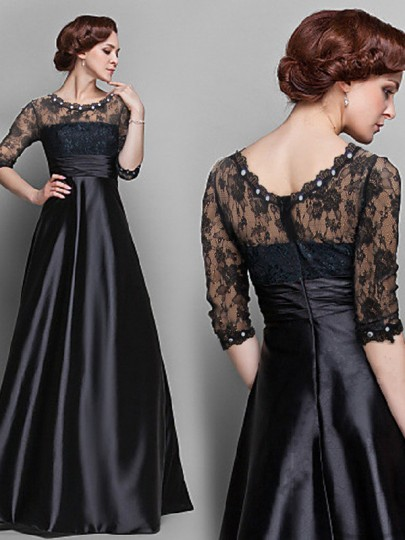 Black Patchwork Lace Pearl Round Neck Long Sleeve Fashion Maxi Dress