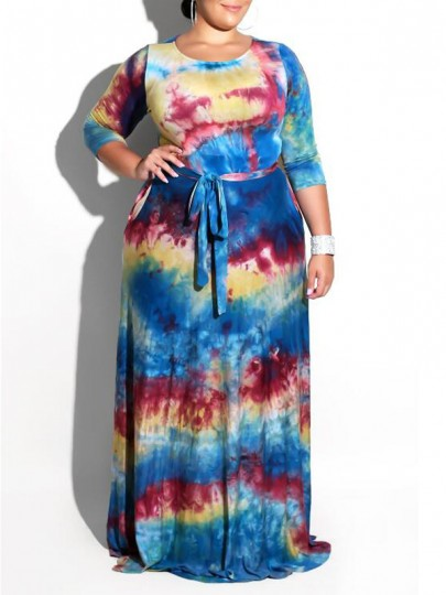 Blue Color Block Arican Print Tie Dye Sashes Plus Size Bohemian Maxi Dress