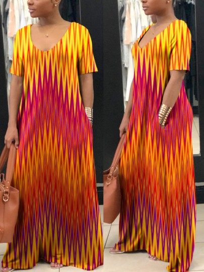 Red-Yellow Geometric Pockets Round Neck Short Sleeve Casual Maxi Dress