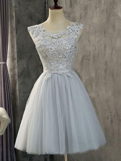 Mini vestido diamantes de imitación de encaje cuello redondo moda gris