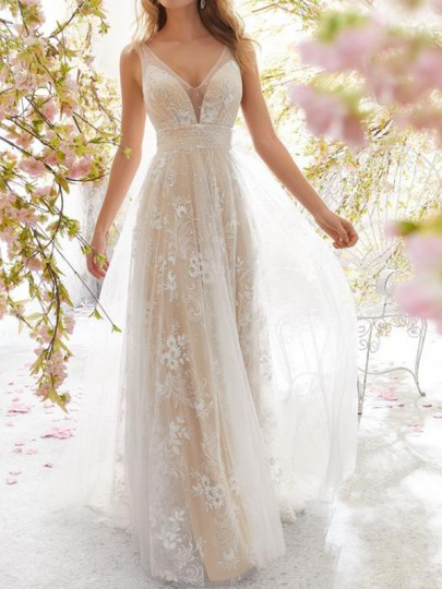 Weiß Mesh Spitze Pailletten V-Ausschnitt Rückenfreies Party Maxikleid Tüllkleid Hochzeitskleider