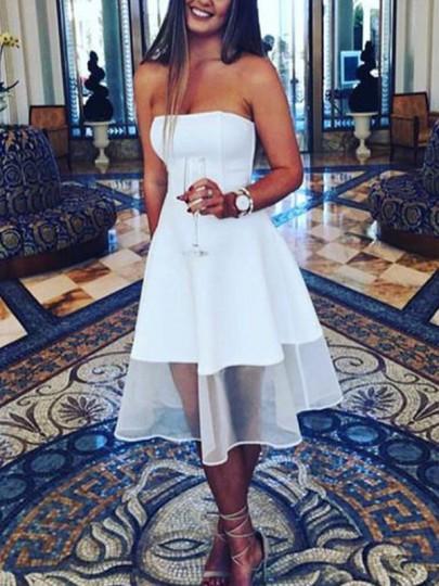 Mi-longue robe bustier tutu élégant de cocktail blanc