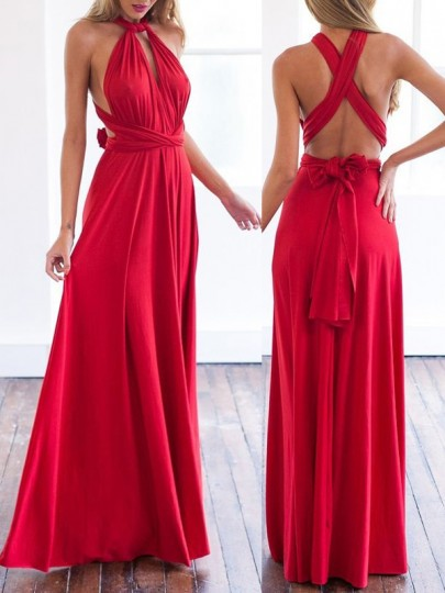 Red Cross Pleated Sashes Multi Way Deep V Neck Backless Chiffon Flowy Bridesmaid Gown Maxi Dress