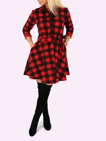 Chemisier robe à carreaux ceinture manches longues rétro rouge et noir