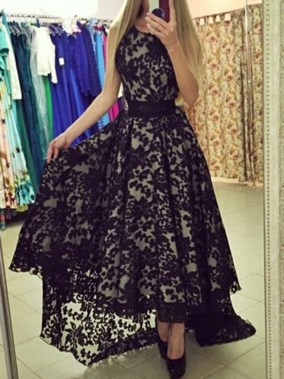 Black Patchwork Lace Draped High-low Sleeveless Cocktail Party Maxi Dress