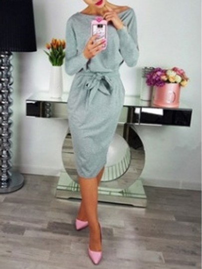 Grey Sashes Pockets Off Shoulder Bodycon Elegant Midi Dress
