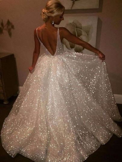 White Simple Sequin Glitter Double Deep V-neck Backless Party evening Maxi Dress