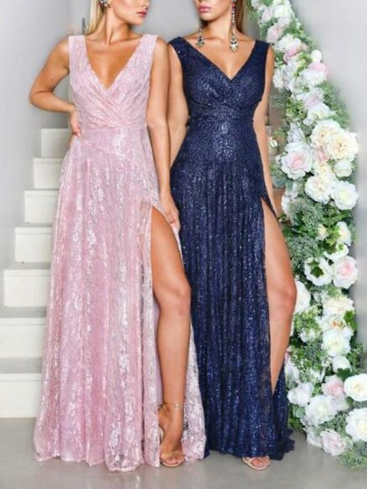 Pink Floral Lace Draped Deep V-neck Side Slit Mermaid Wedding Prom Party Maxi Dress