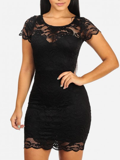 Black Floral Lace Cut Out Round Neck Short Sleeve Bodycon Party Mini Dress